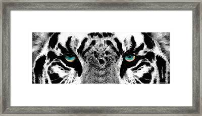 Dressed To Kill - White Tiger Art By Sharon Cummings Framed Print