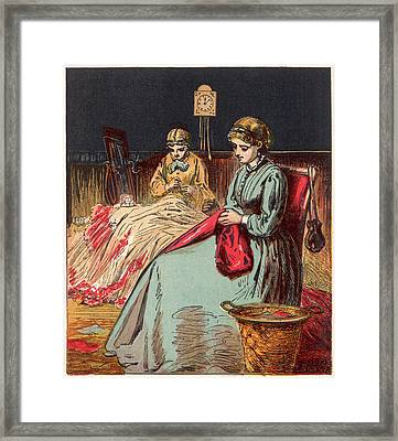 Dressmakers Sit Up All Night  Working Framed Print