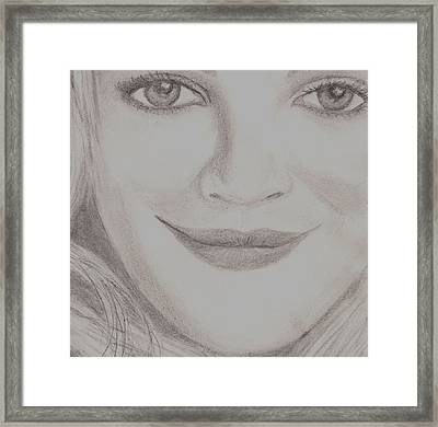 Framed Print featuring the drawing Drew Barrymore by Christy Saunders Church
