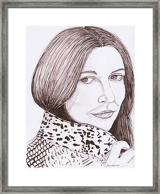 Drew Barrymore Sketch Framed Print by M Valeriano