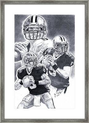 Drew Brees Framed Print by Jonathan Tooley
