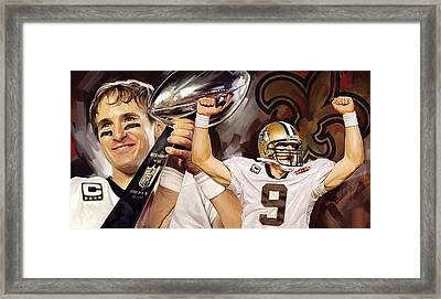 Drew Brees New Orleans Saints Quarterback Artwork Framed Print