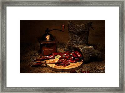 Dried Chilies Framed Print by Cole Black