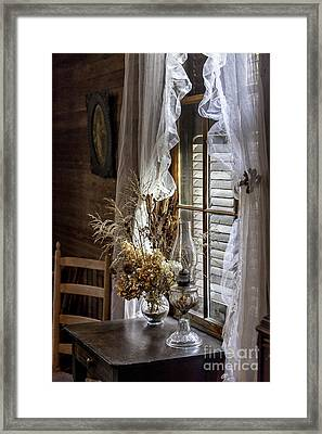 Dried Flowers And Oil Lamp Still Life Framed Print