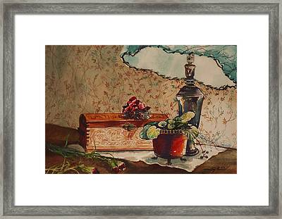 Framed Print featuring the painting Dried Flowers by Joy Nichols