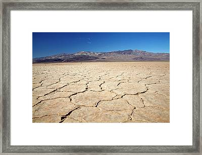 Dried Mud In Salt Pan, Panamint Valley Framed Print