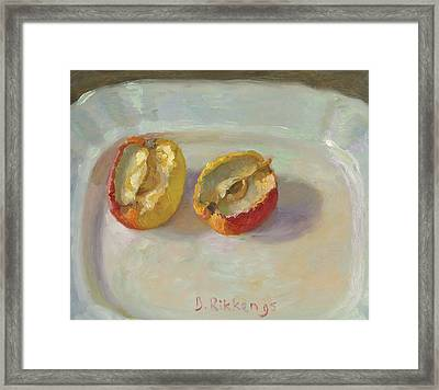 Dried Out Apple On A White Plate Framed Print by Ben Rikken