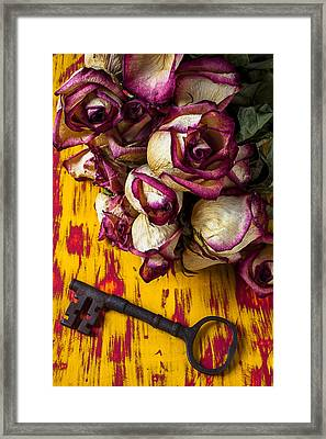 Dried Pink Roses And Key Framed Print by Garry Gay