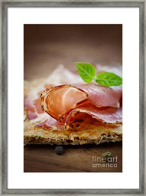 Dried Pork Collar Salami Framed Print by Mythja  Photography