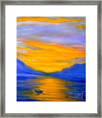 Drifting At Sunset Framed Print by Nancy Rucker