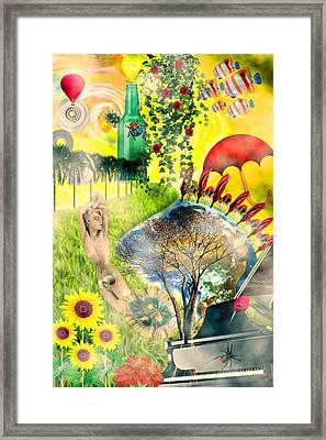Framed Print featuring the mixed media Drifting Away by Ally  White