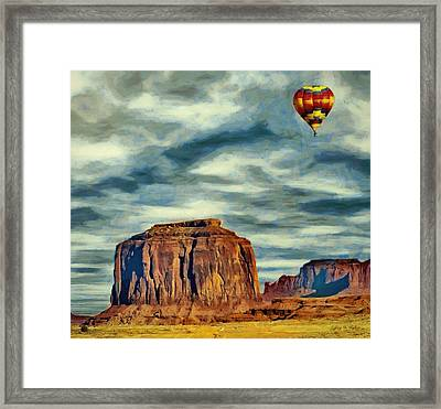 Framed Print featuring the painting Drifting Over Monument Valley by Jeff Kolker