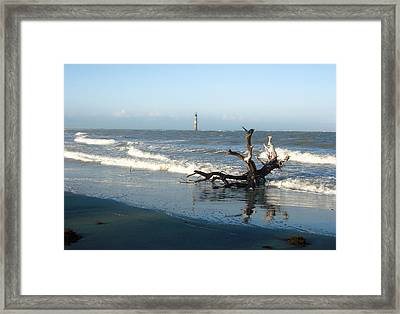Framed Print featuring the photograph Driftwood And Morris Island Lighthouse by Ellen Tully