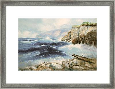 Driftwood Cliffs Framed Print by Richard Hinger