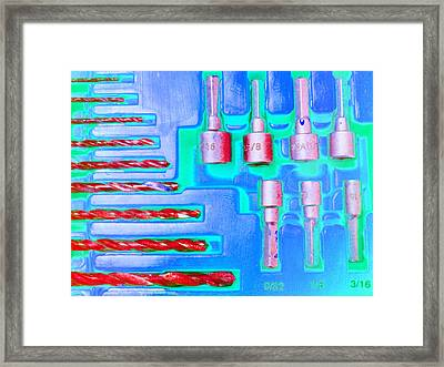 Drill Bits E Framed Print by Laurie Tsemak