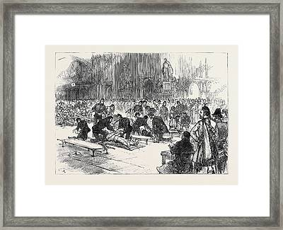 Drill Of Volunteer Ambulance Corps At Guildhall 1880 Framed Print by English School