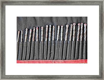 Drill Pieces Framed Print