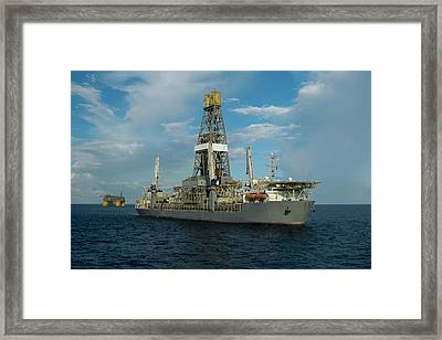 Drill Ship And Platform Framed Print
