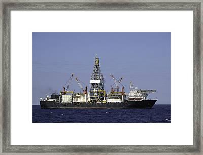 Drill Ship In Blue Ocean Framed Print