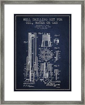 Drilling Bit For Oil Water Gas Patent From 1920 - Navy Blue Framed Print by Aged Pixel