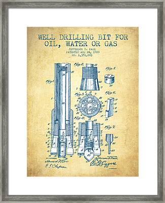 Drilling Bit For Oil Water Gas Patent From 1920 - Vintage Paper Framed Print