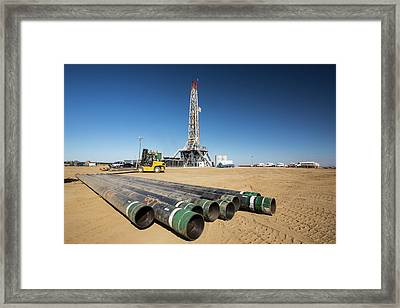 Drilling For Oil Framed Print by Ashley Cooper