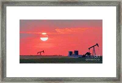 Framed Print featuring the photograph Rising Full Moon In Oklahoma by Janette Boyd