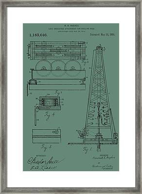 Drilling Rig Patent On Green Framed Print by Dan Sproul
