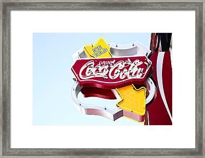 Drink Coca Cola Vintage Neon Sign Framed Print