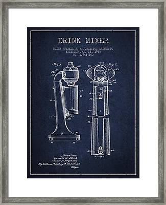 Drink Mixer Patent From 1930 - Navy Blue Framed Print by Aged Pixel