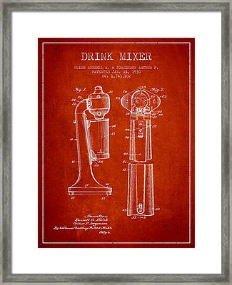 Drink Mixer Patent From 1930 - Red Framed Print by Aged Pixel