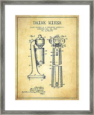 Drink Mixer Patent From 1930 - Vintage Framed Print by Aged Pixel