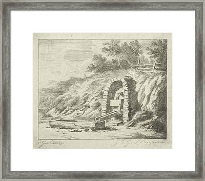 Drinking Bowl With Water Through Wooden Pipes From Rock Framed Print by Jacobus Cornelis Gaal