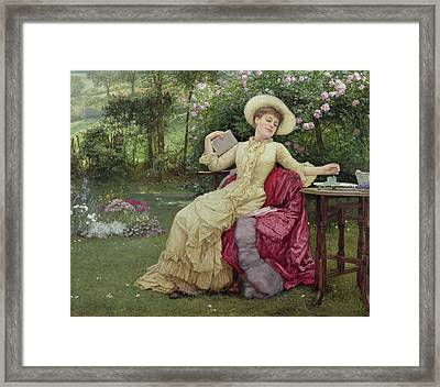 Drinking Coffee And Reading In The Garden Framed Print by Edward Killingworth Johnson