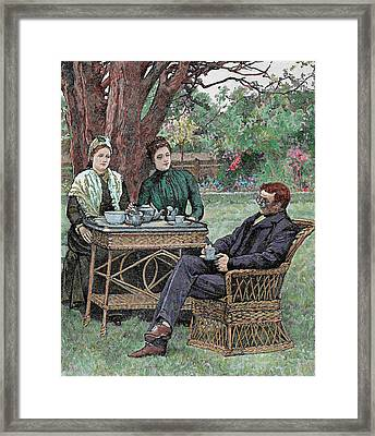 Drinking Coffee In The Garden Framed Print by Prisma Archivo