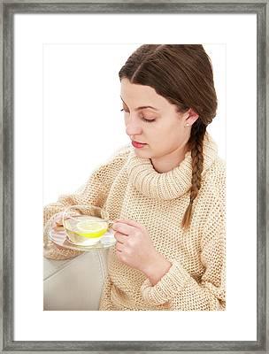 Drinking Lemon Tea Framed Print by Lea Paterson