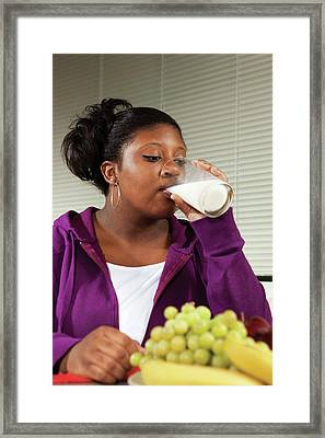 Drinking Milk Framed Print by Peggy Greb/us Department Of Agriculture