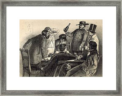 Drinking The Bottles In Germany, 19th Century Lithography Framed Print by German School
