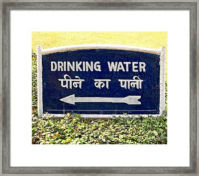 Drinking Water Sign Framed Print by Ethna Gillespie