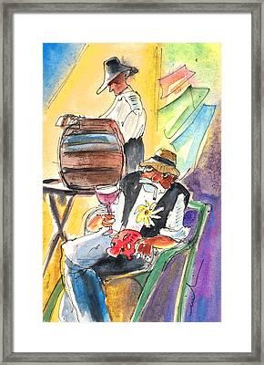 Drinking Wine In Lanzarote Framed Print by Miki De Goodaboom