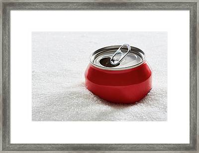 Drinks Can In Sugar Framed Print by Kevin Curtis/science Photo Library