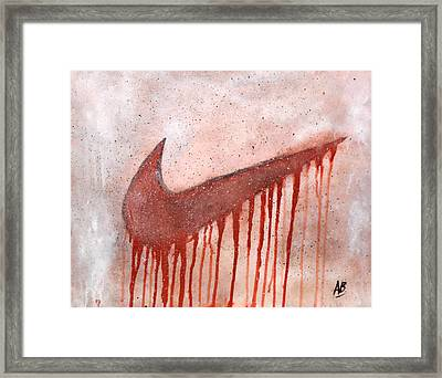 Dripping Nike Framed Print by Anwar Braxton