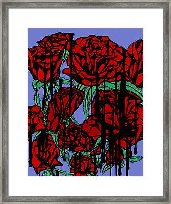 Dripping Red Roses On Parade Framed Print
