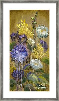 Drippy Bouquet With Gold Leaf By Vic Mastis Framed Print