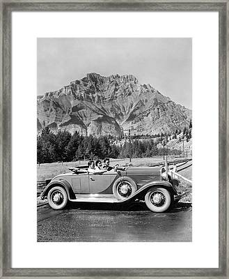 Drive In The Canadian Rockies Framed Print by Underwood Archives