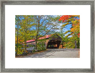 Drive In To Albany Covered Bridge #49 Framed Print by Shell Ette