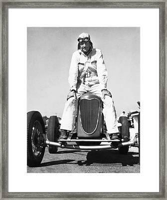 Driver And His Race Car Framed Print