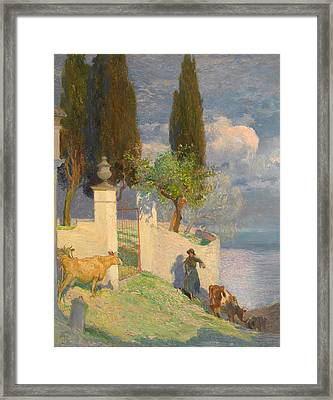 Driving Cattle Lake Como Framed Print by Joseph Walter West