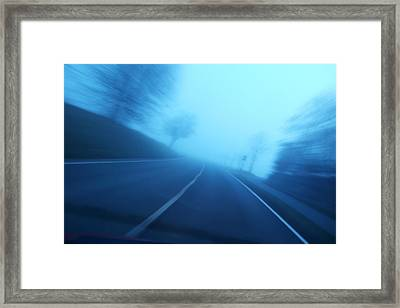 Driving Fast - Blue And Blurred Framed Print