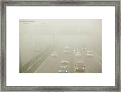 Driving In Fog On The M1 Motorway Framed Print